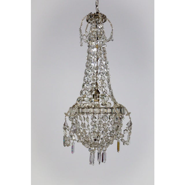 French Delicate Crystal & Wire French Regency Tent Chandelier For Sale - Image 3 of 13