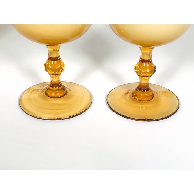 Glass Vintage Carlo Moretti Butterscotch Cased Glass Wine Glasses - Set of 10 For Sale - Image 7 of 9