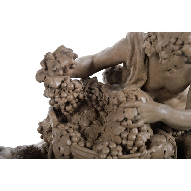 Bacchus & Satyrs eating Grapes and drinking Wine - Gorgeous 19th century Terracotta sculpture by French artist Clodion-Signed For Sale - Image 5 of 10