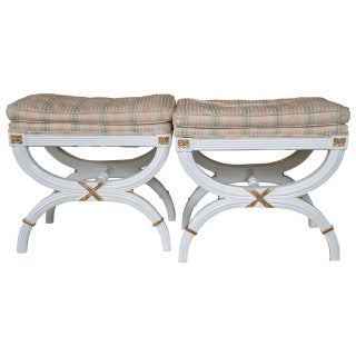 Hollywood Regency White Painted X-Benches - A Pair For Sale