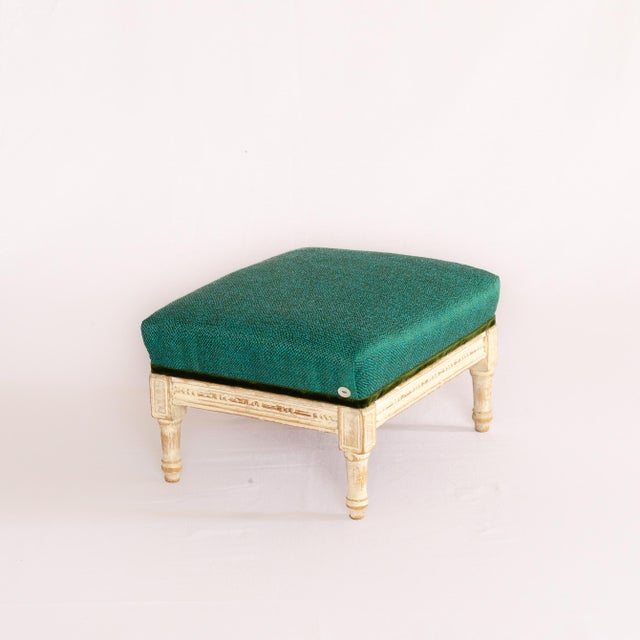 French 19th Century Antique French Emerald and White Patina Footstool For Sale - Image 3 of 12
