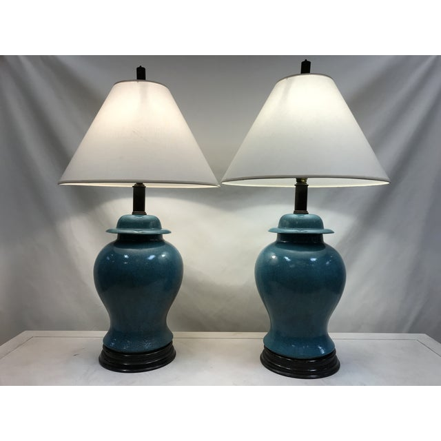 Vintage Turquoise Ceramic Crackle Lamps- a Pair For Sale - Image 9 of 9