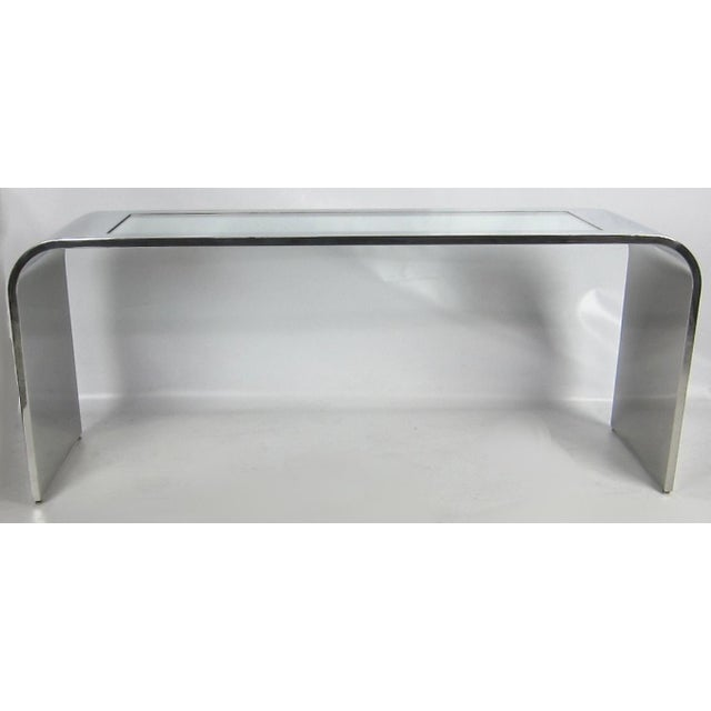 ab0a30d1363f Large Scale Mirror Polished Stainless Steel Console or Sofa Table with  Inset Glass Top by Stanley