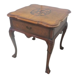 Chippendale Walnut Carved & Inlaid Side Table