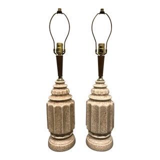 Vintage Mid-Century Glazed Ceramic Table Lamps - a Pair