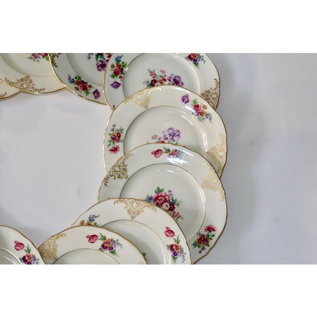 Set of 13 Floral Porcelain Czechoslovakian Epiag Dessert/Bread Plates - Image 9 of 11