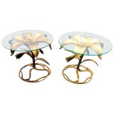 Image of 1980s Hollywood Regency Arthur Court Gilt Lilly Tables - a Pair For Sale