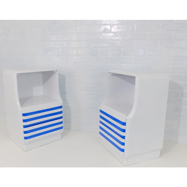 Mid-Century Modern White & Blue Striped Nightstands - A Pair For Sale - Image 9 of 10