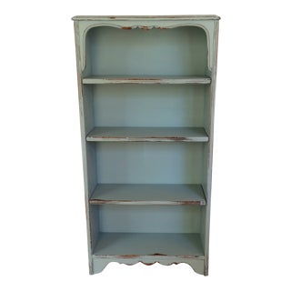 1940s Vintage French Country Bookcase Solid Mahogany Painted French Blue For Sale