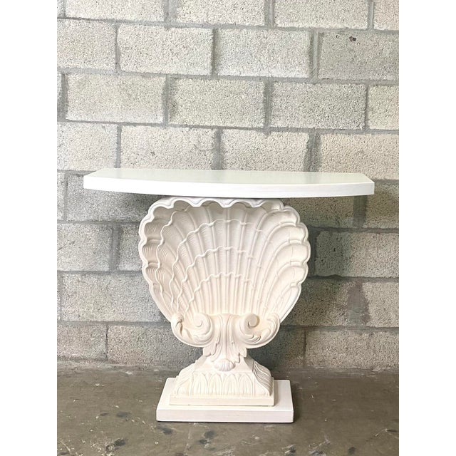 Late 20th Century Vintage Coastal Grosfeld House Clamshell Console Table For Sale - Image 5 of 5