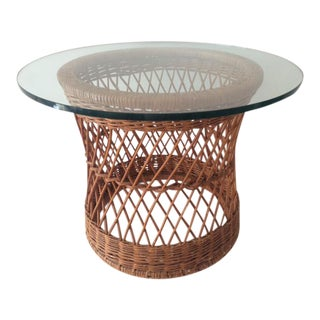 Vintage McGuire Rattan Round Side Table For Sale