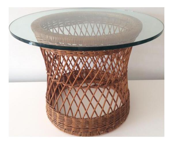 Wonderful Vintage McGuire Rattan Round Side Table
