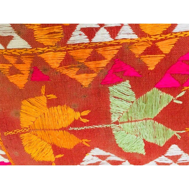 Phulkari Wedding Shawl, Silk Embroidery on Cotton, Punjab India 20th Century For Sale - Image 11 of 13