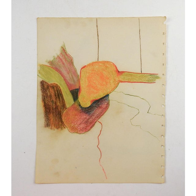 Colored pencil on paper abstract drawing. Unsigned. Unframed, age toning, perforations on side from sketch book.