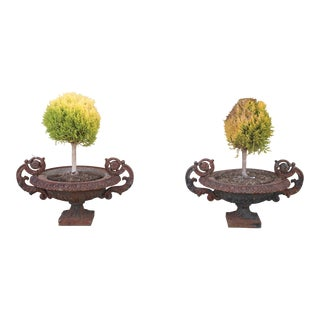 Antique Victorian 1920's Pair of Cast Iron Urns For Sale