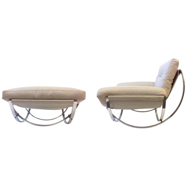 Italian Polish Stainless Steel and Leather Lounge Chair and Ottoman by Leonart Bender for Charlton Co. For Sale