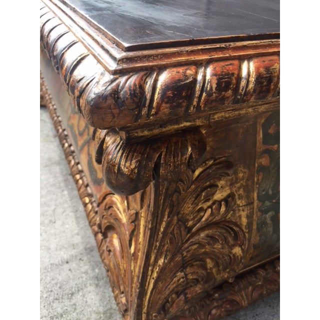 Wood 19th Century Italian Carved Giltwood & Painted Cassone For Sale - Image 7 of 13