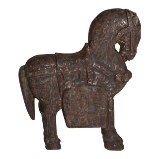 Asian Primitive Solid Block Carved Wood Trojan Horse Statue