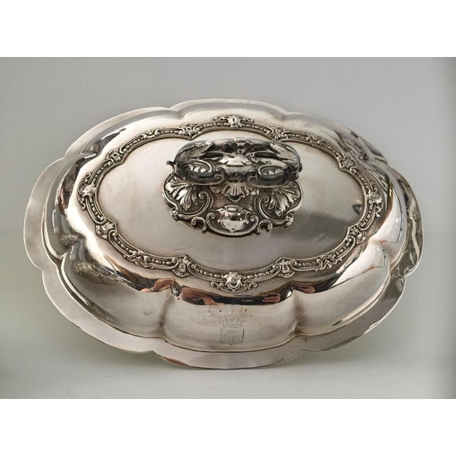 Metal Antique Sheffield Silver Plate Scroll Borders & Armorial Crest Serving Dish With Cover For Sale - Image 7 of 12
