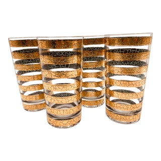 1960s Vintage Culver Regiment 22k Gold Highball Glasses - Set of 4 For Sale