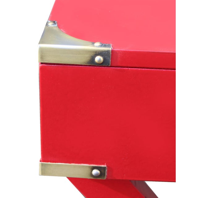 "1970s Campaign Desk in ""Lipstick"" Red & Brass Hardware For Sale In Los Angeles - Image 6 of 7"
