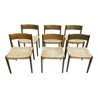 Vintage Danish Teak and Rattan Chairs - Set of 6 For Sale