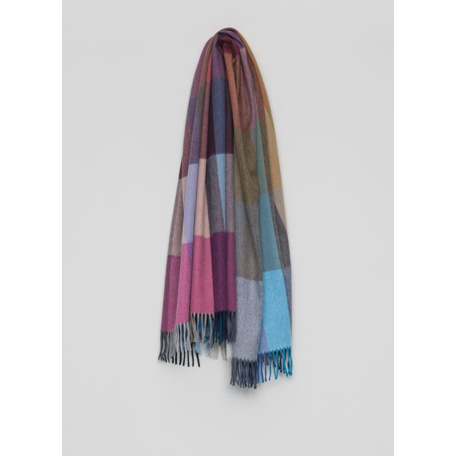 Contemporary Jura Palette Lambswool Angora Throw, Pink Multi For Sale - Image 3 of 3
