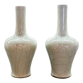 Pair of Asian Influence Crackle Vases For Sale