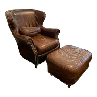 Bradington Young Leather Chair and Ottoman For Sale