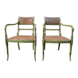 Pair of 19th Century English Regency Painted and Caned Armchairs For Sale