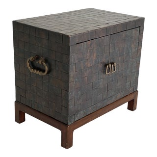 Brutalist Mid Century Woven Metal Copper and Brass Chest Cabinet For Sale