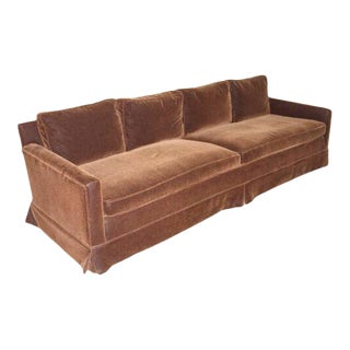 Vintage Newly Reupholstered Chocolate Brown Mohair Sofa For Sale