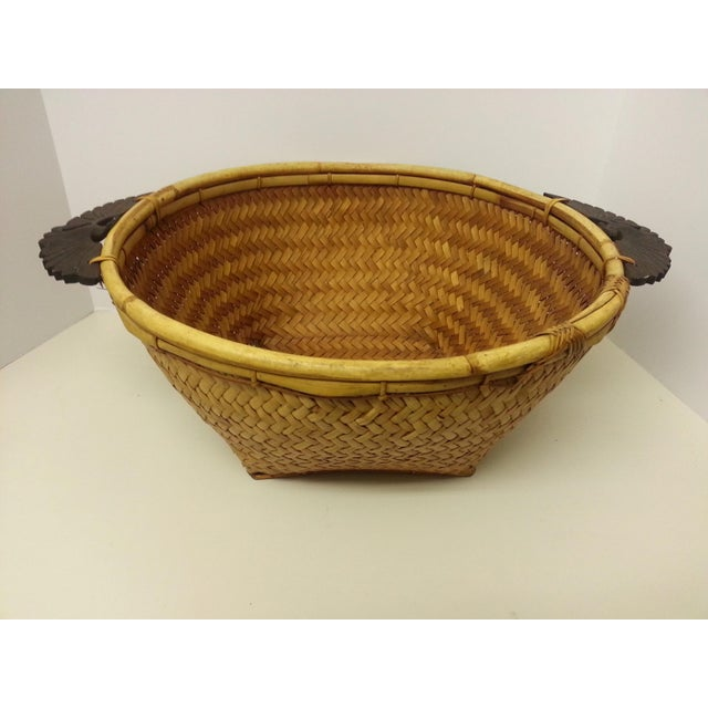 Woven Rattan Carved Wooden Handle Basket For Sale In Saint Louis - Image 6 of 6