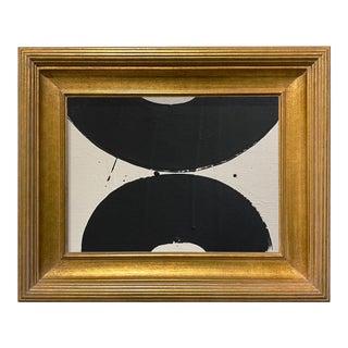 Ron Giusti Mini Wagasa Taupe Black Acrylic Painting, Framed For Sale