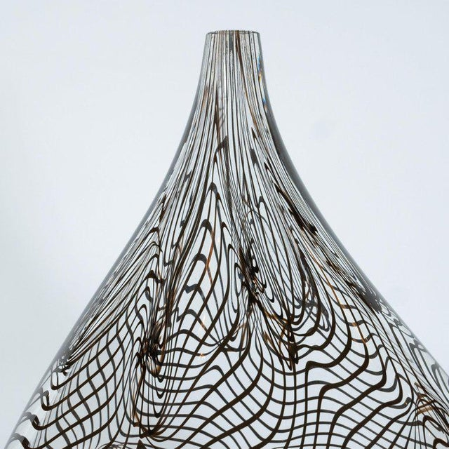 Modernist Hand Blown Murano Translucent Tear Drop Vase With Black Swirl Details For Sale - Image 4 of 10