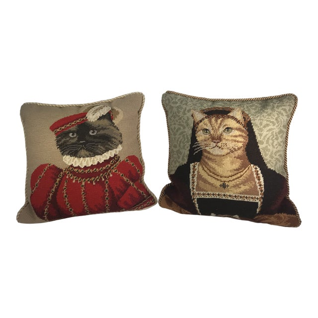 Handmade Needlepoint Royal Cat Pillows - A Pair For Sale