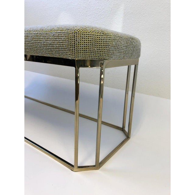 """A glamorous 1970s hexagonal shape """"Thin Line"""" polish brass bench by Milo Baughman. The bench has been newly recovered in..."""