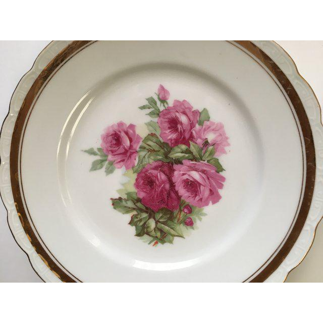 1940s Scallop Edged Rose Plates - Set of 4 For Sale - Image 5 of 6