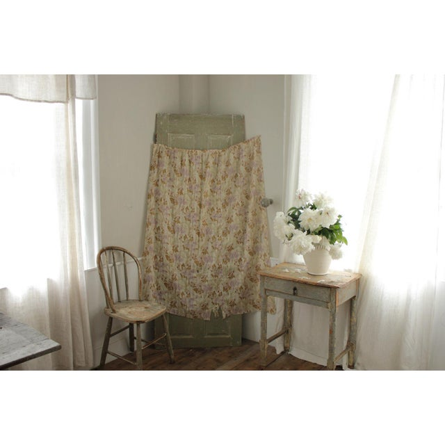 Antique French Art Nouveau Light Weight Cotton Roller Print Floral Sheer Fabric For Sale - Image 10 of 12