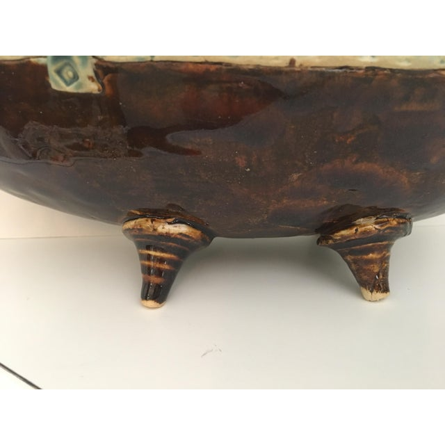 Arts and Crafts Footed Studio Pottery Oblong Bowl - Image 4 of 12