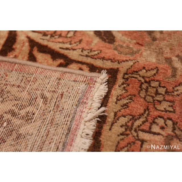 Early 20th Century Antique Persian Tabriz Dusty Rose Rug - 13′7″ × 17′ For Sale - Image 5 of 8