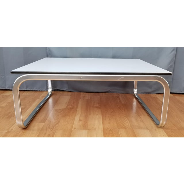 Mid Century Modern Large Square Coffee Table With Chrome Base White
