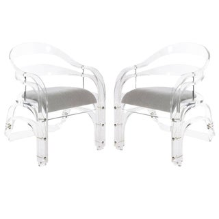 Mid-Century Modern Velvet Grey Lucite Chairs - a Pair For Sale