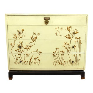 Mid 20th Century Asian Style Chest of Drawers with Gold Floral Motif For Sale
