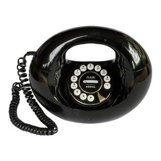 1970s Vintage Pop Art Black Donut Handbag Landline Telephone For Sale