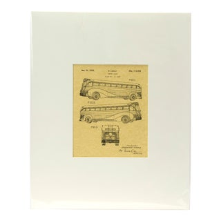 Raymond Loewy Motor Coach 1939 Inventor's Patent Print Mounted in Window Mat For Sale