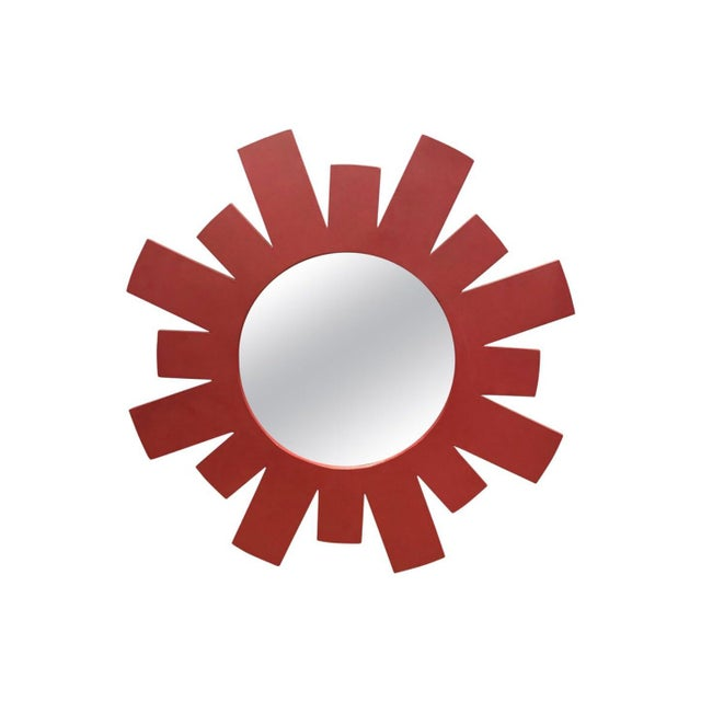 1970s Architectural Midcentury Large Red Geometric Starburst Wall Mirror For Sale - Image 5 of 5