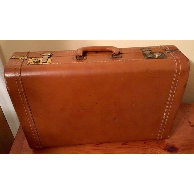 Vintage Cognac Leather Suitcase - Image 2 of 8