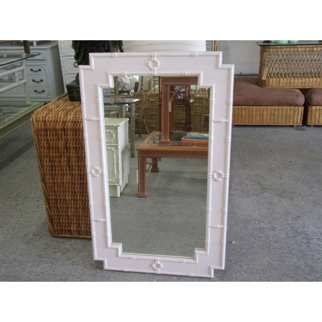 Wood Palm Beach Faux Bamboo Mirror For Sale - Image 7 of 7