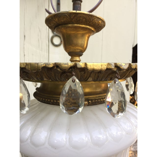 American 1910s Vintage Cast Brass and Crystal Caldwell Hanging Fixture For Sale - Image 3 of 7